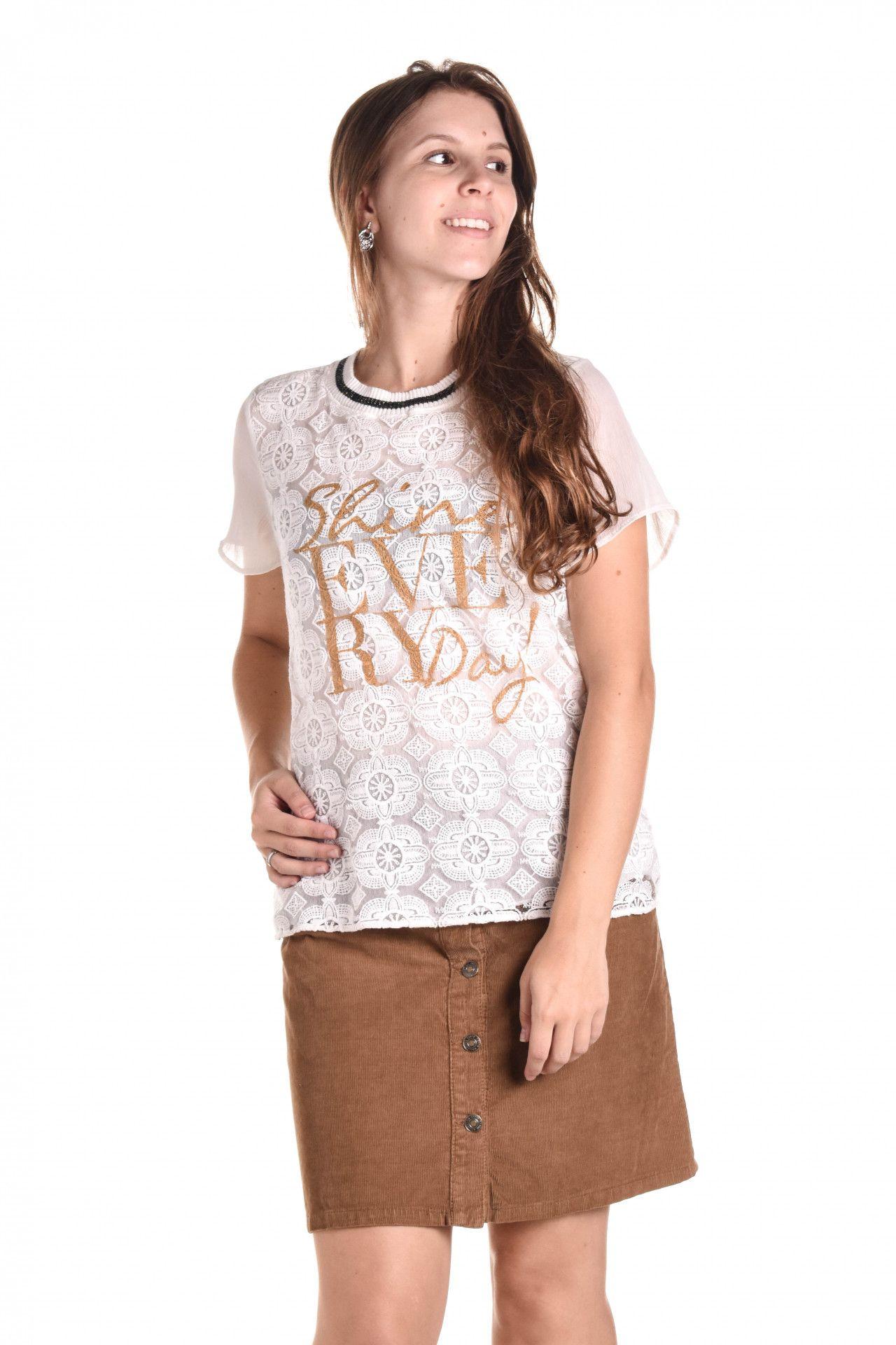 Damyller - Camiseta Branca Renda  - Foto 1