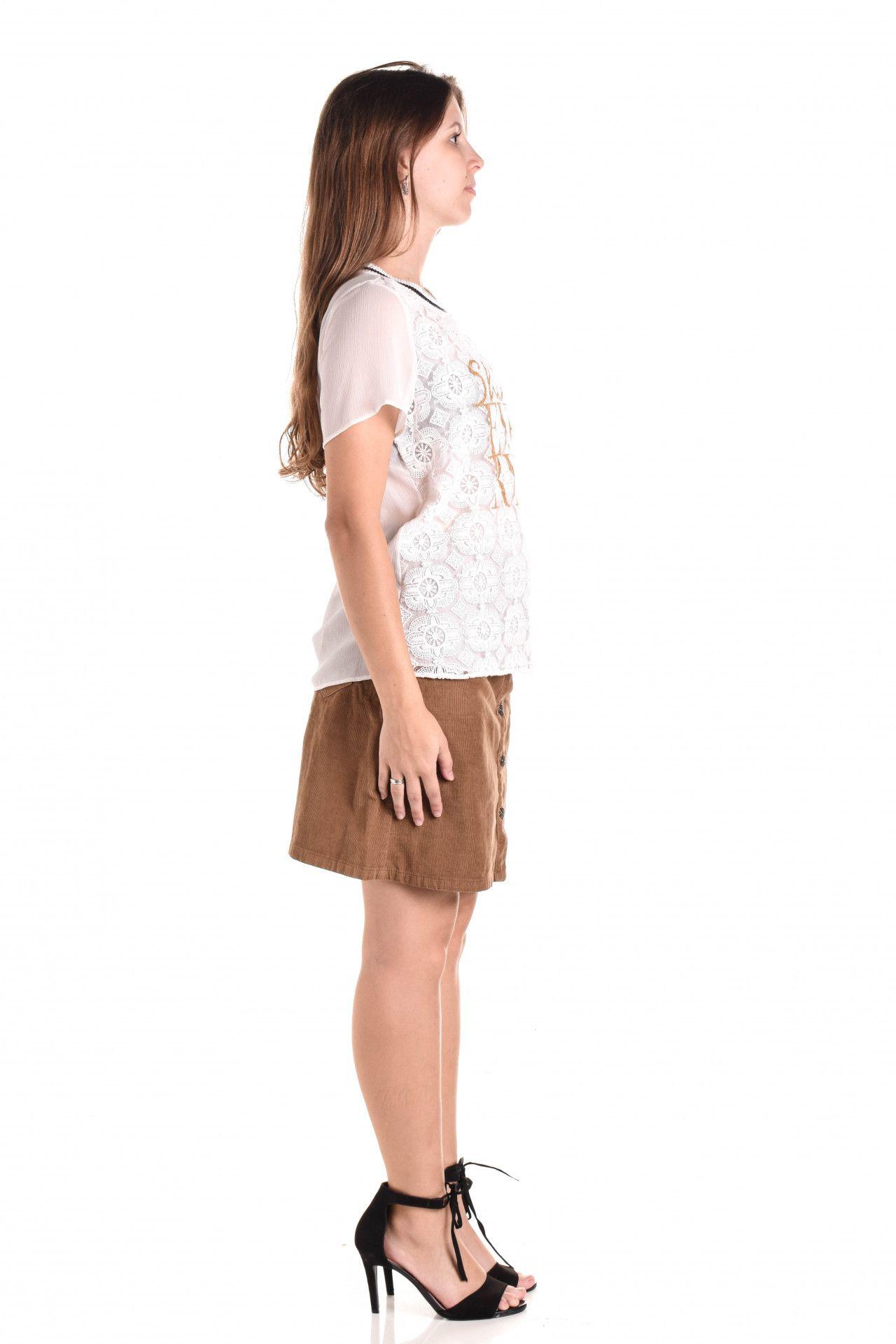 Damyller - Camiseta Branca Renda  - Foto 4