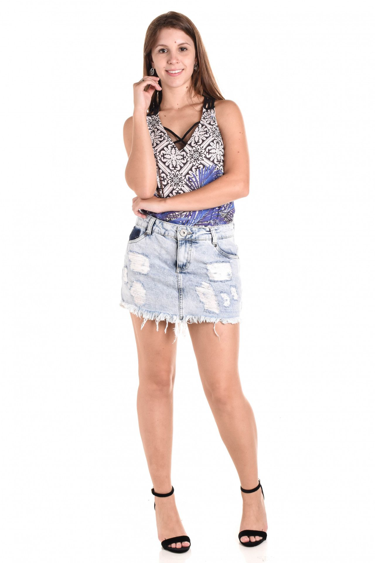 Jana Taffarel - Saia Jeans Destroyed - Foto 3