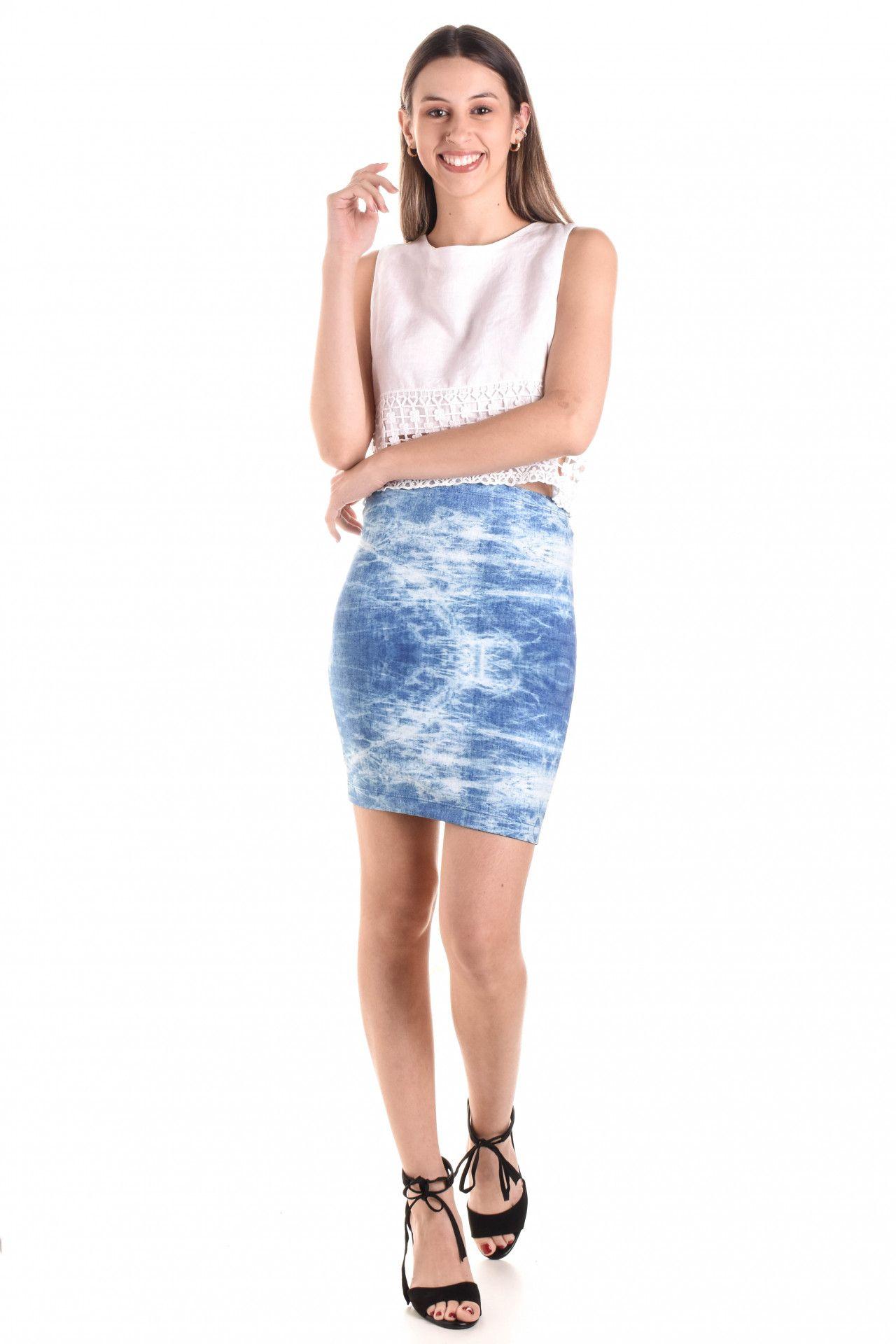 Triya - Saia Azul Estampada  - Foto 3