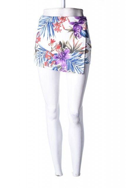 Shorts-Saia Branca Estampada Forever 21