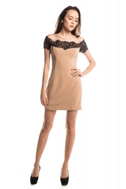Vestido Nude Renda C. Club!