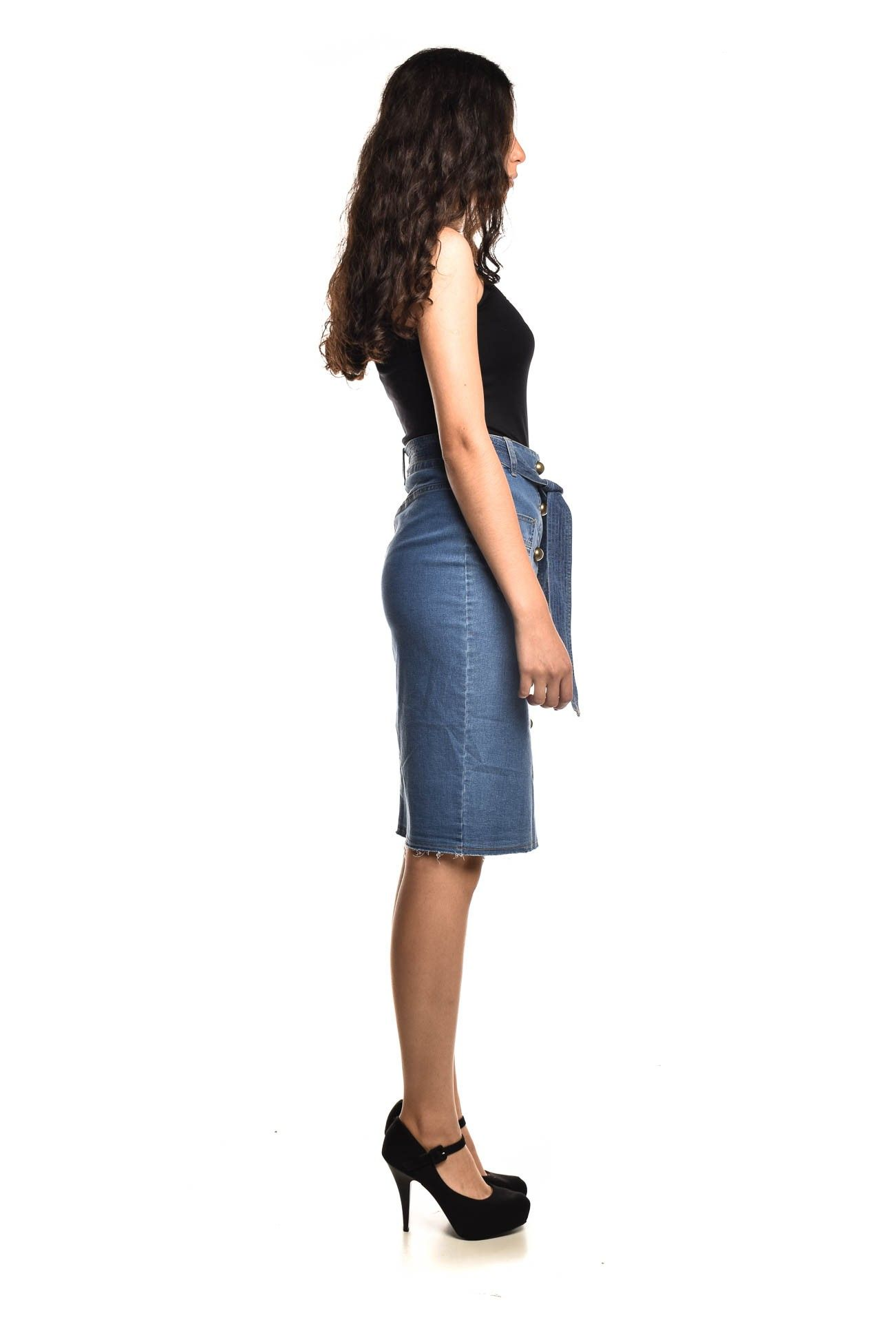 Mixed - Saia Jeans Botões - Foto 3