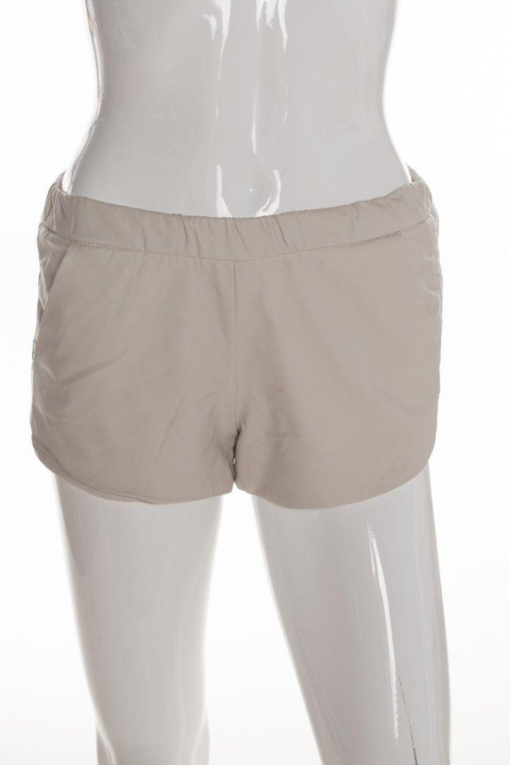 Zara - Shorts Couro Bege - Foto 1