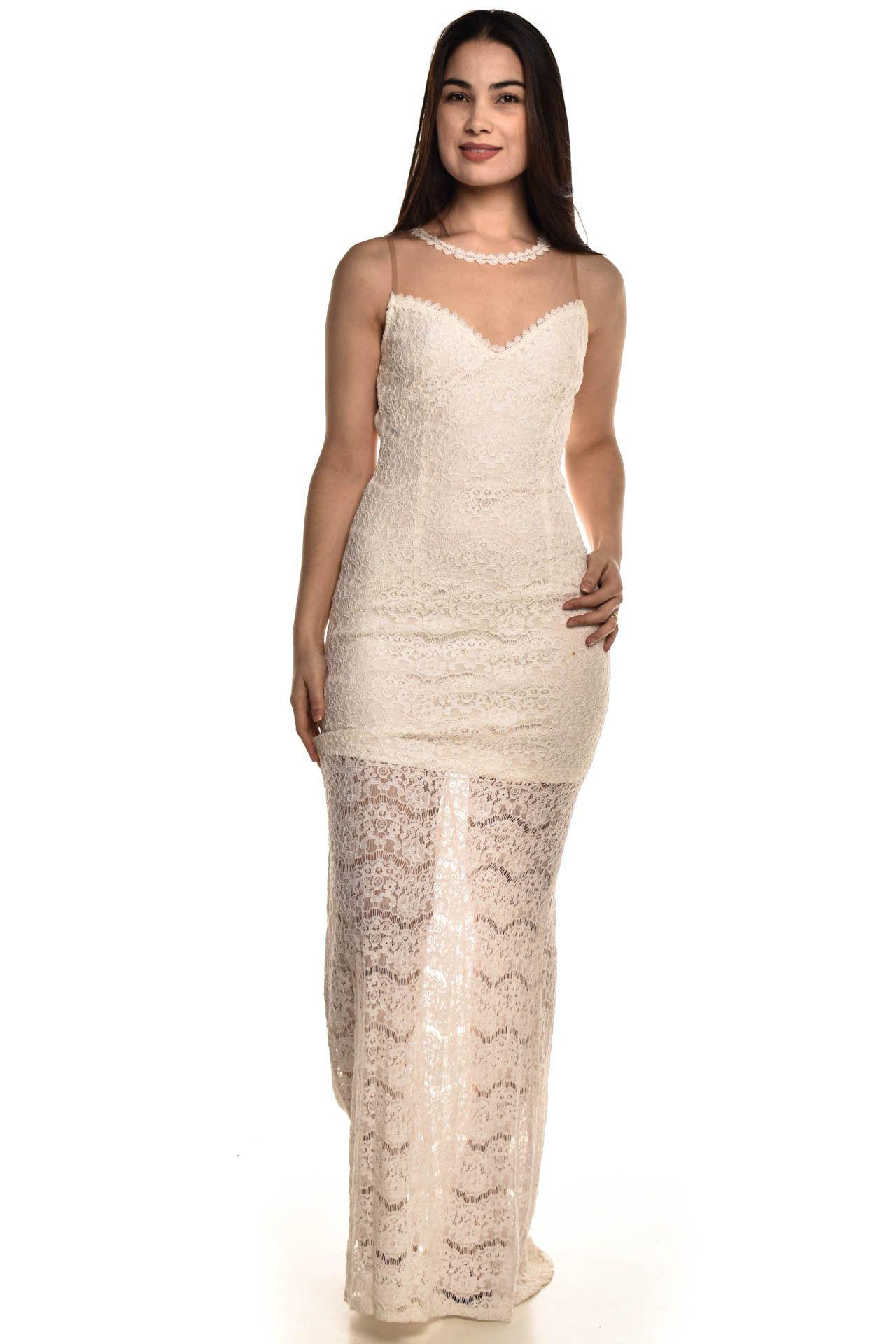 Cheroy - Vestido Longo Off White - Foto 1