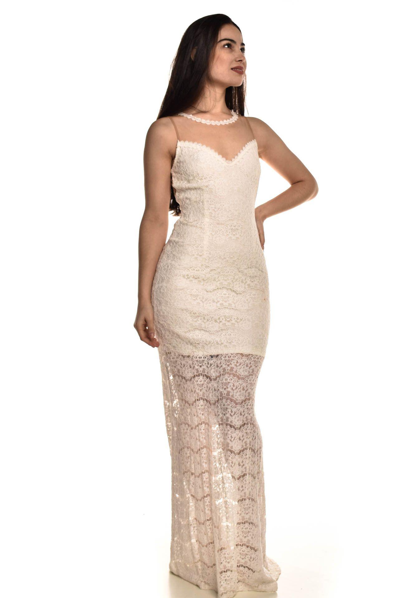 Cheroy - Vestido Longo Off White - Foto 3