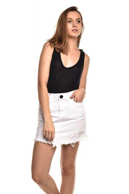 Saia Jeans Branca Jeanseria