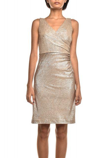 Vestido Dourado Decote Lauren Ralph Lauren