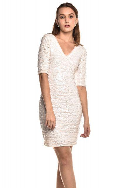 Vestido Paetê Branco Bcbgmaxazria