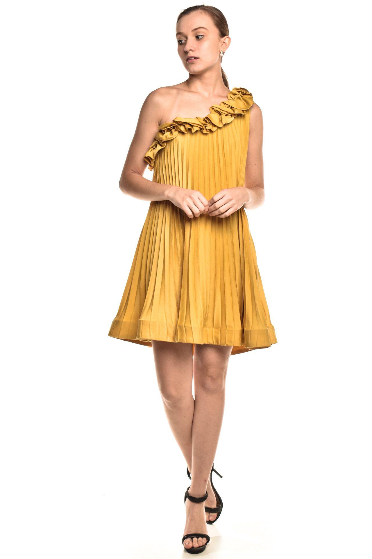 Bcbgmaxazria - Vestido Babados Yellow - Foto 3