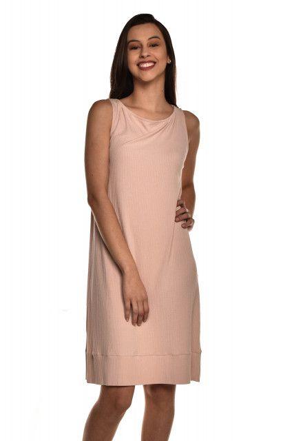 Vestido Canelado Rosé Laas