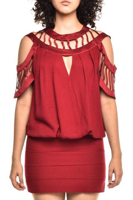 Vestido Seda Vinho Pynablu