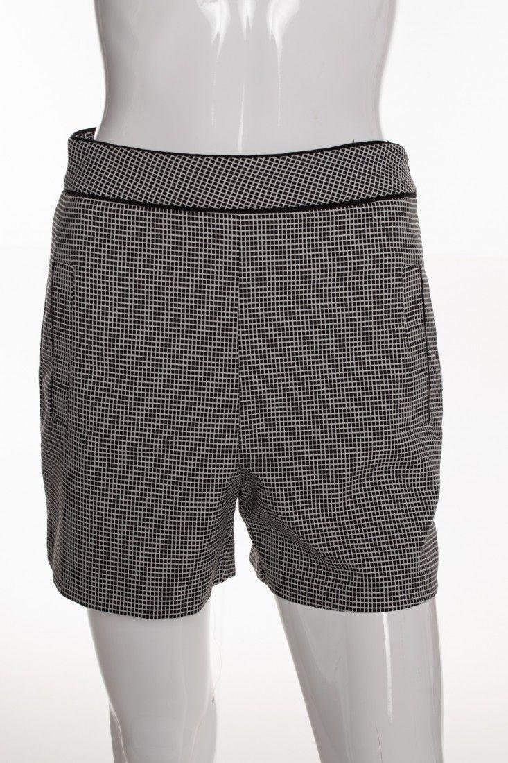 Zara - Shorts Quadriculado Pb - Foto 1